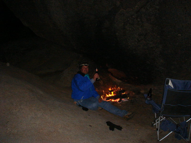 My buddy John at fireside; an undisclosed date and location.