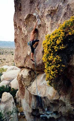 Kris Solem climbing Jane's Addiction, ca. 1995.<br> <br> Photo by Guy Keesee