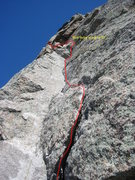 Rock Climbing Photo: Picture shows the top of the flake and P3 belay al...