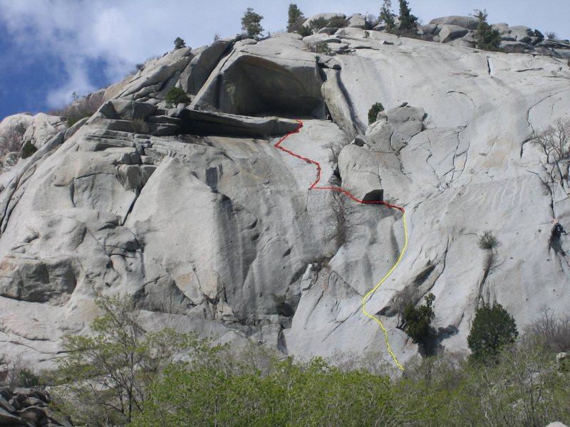 the yellow line shows the path taken from the base to access the route; Playing Hooky is the line in red