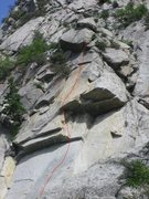 Rock Climbing Photo: in the rock-scar:  the red line shows the route (t...