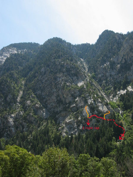 Rock Climbing Photo: The red line is the approach and descent.  The yel...