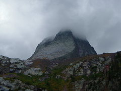 Rock Climbing Photo: Vestal in the clouds.