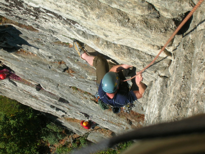 Kyle getting over the first crux of Shockley's Ceiling @ the gunks.