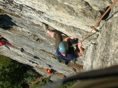 Rock Climbing Photo: Kyle getting over the first crux of Shockley's Cei...