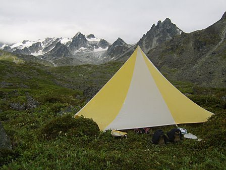 In the Talkeetna Range, AK.  We did a sweet hike that did a huge circle from the Arch Angel TH, going across the Snowbird Glacier, to the Bomber Glacier, up over Bomber pass, and back down the the Trail Head.  This is about a mile before the Bomber Hut.