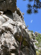 Rock Climbing Photo: The line for Geek in the Creek - the first bolt is...