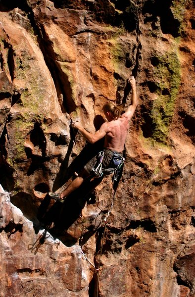 Ben W. digging into the crux moves.  Note the beautiful stone, it's some of the best in the canyon.
