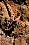 Rock Climbing Photo: Ben W. digging into the crux moves.  Note the beau...