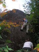 Rock Climbing Photo: Nodin bouldering on Slabadabadoo