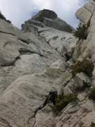 Rock Climbing Photo: Climbing pitch 6.  The huge roofs above are avoide...