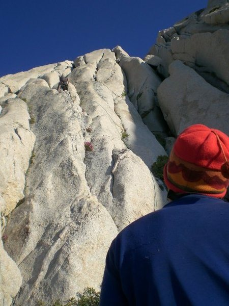 Starting up pitch 13.  The tension traverse is a few pitches up and moves you into the gully on the right.