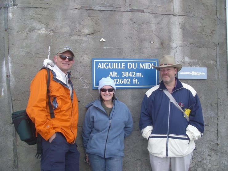 Torture: Being on Aguille du Midi w/o gear! <br> With colleagues.
