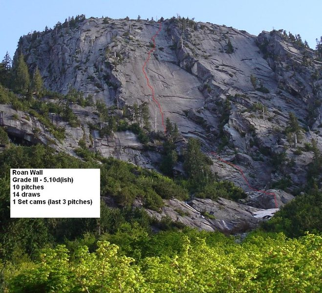 Rock Climbing Photo: The Roan Wall... red line is quite approximate.