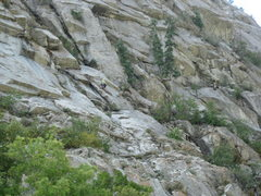 Rock Climbing Photo: E Rock leading past the broken rock on P2 and into...