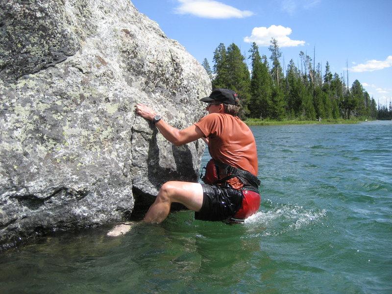 Rock Climbing Photo: Bernard doing a little aqua-bouldering in String L...