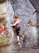 Rock Climbing Photo: Tayler attempting to get over the crux of this cli...