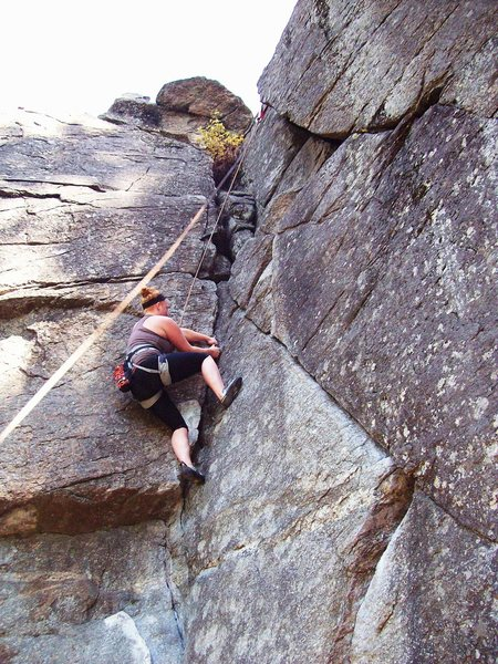 Rock Climbing Photo: Tayler in lieback near top of route.