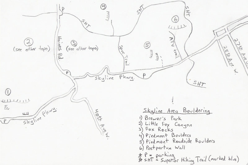 Overview of all Skyline area bouldering spots.