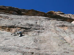 "Rock Climbing Photo: After the crux traverse on ""Riddler Right&quo..."