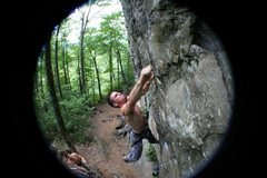 Rock Climbing Photo: NH, Rumney, 5.8 Crag, Arm and Hammer - 11.c