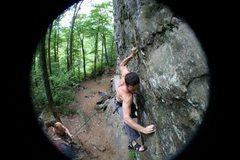 Rock Climbing Photo: NH, Rumney, 5.8 Crag, Arma nd Hammer - 11.c