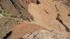 Rock Climbing Photo: John near top of pitch 4.