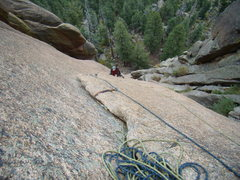 Rock Climbing Photo: Mike following pitch 2.  South Platte.  Sept 20th,...