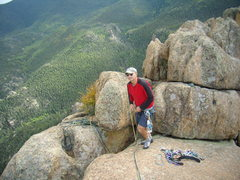 Rock Climbing Photo: Mike Colacino on top of the route.  About five pit...