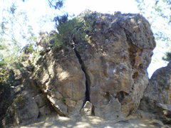 Rock Climbing Photo: Pinnacle Rock - From the grass.  Off-width Crack i...