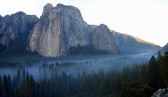 Rock Climbing Photo: Morning fog, Middle and Lower Cathedral Rock.