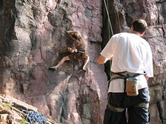 Rock Climbing Photo: John K. pulling through the direct start of Flatus...