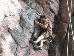 Rock Climbing Photo: Just about to step into the overhang.  Photo by: A...