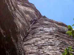 Rock Climbing Photo: The long exciting crack on pitch 1.