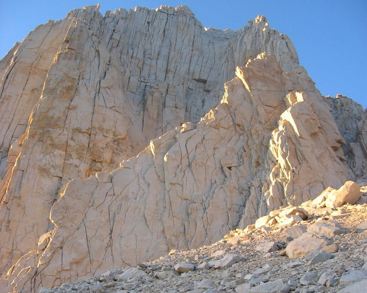 Rock Climbing Photo: View of the base of the route. The start is on the...