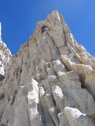 Rock Climbing Photo: Eric Burt negotiating the crux of Pitch 3.