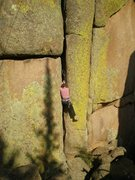 Rock Climbing Photo: Carrie giving some hand stacking a try on La Goell...