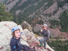 Rock Climbing Photo: Alan and Jake at the top of Handcracker.