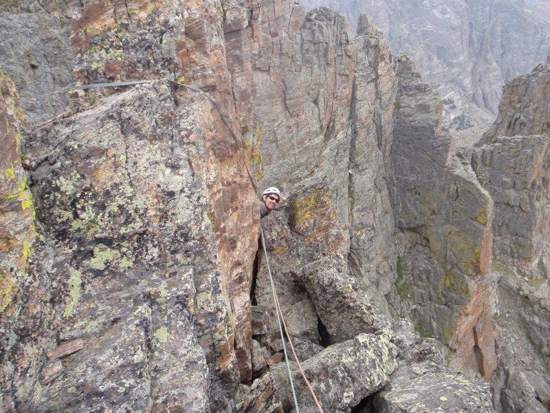 Rock Climbing Photo: Alan taking a huge dump next to the rap anchors on...