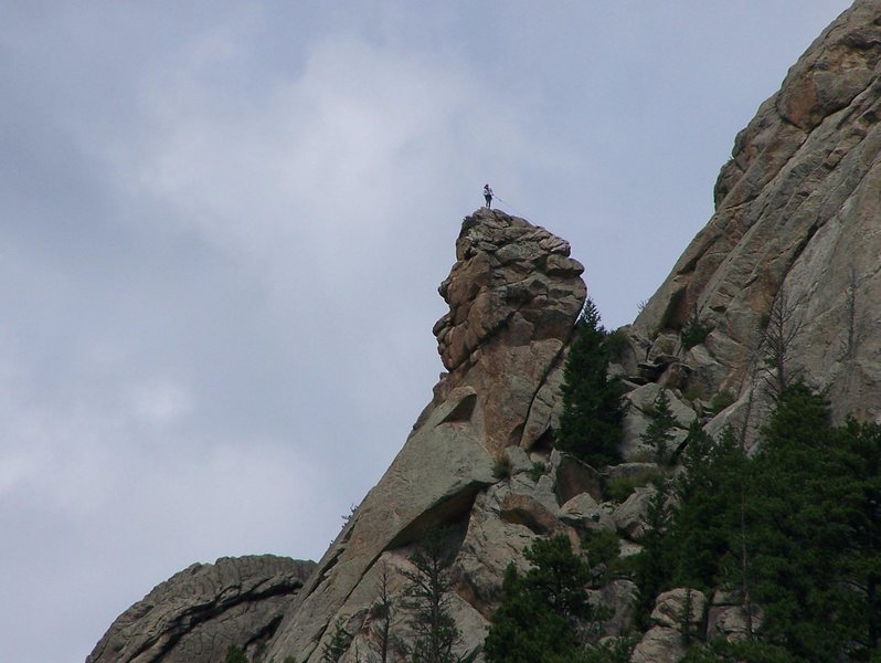 Rock Climbing Photo: A man on the summit preparing to...rap?
