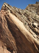 Rock Climbing Photo: Upper section on the Forget me Not Slab from acros...