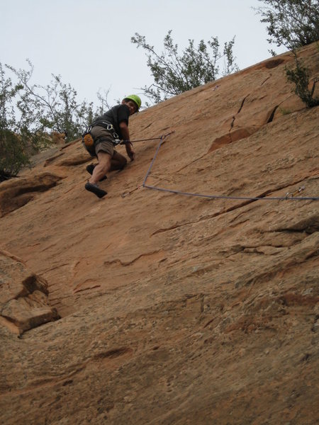 On the sandstone slabs of Red Rock Canyon Open Space. I think this is Mad Scientist (5.8+)
