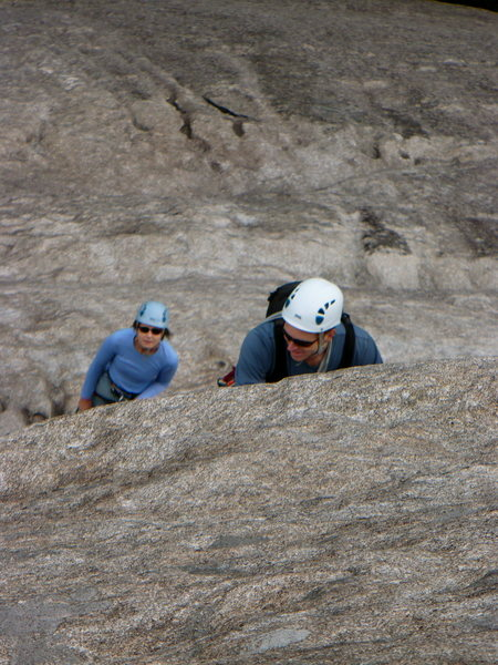 Rock Climbing Photo: Mike in a sea of granite on pitch 2 of the Nose, L...
