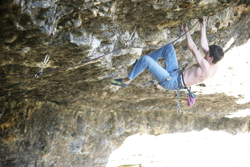 Rock Climbing Photo: Redpoint crux of 'Cain'.