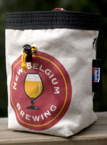 """The """"Bob"""" bag, nicknamed after Bob Scarpelli.  This bag made from New Belgium recycled canvas is oversized and perfect for folks with big mitts or serious chalk dependencies."""