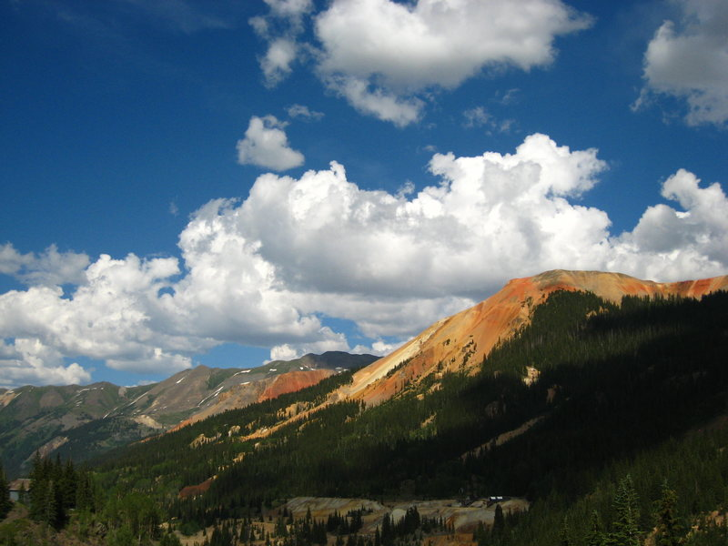 A Red Mountain peak living up to its name.<br> <br> San Juan Mountains<br> <br> July 2008