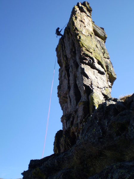 The first rappel, late afternoon (gentleman's start).