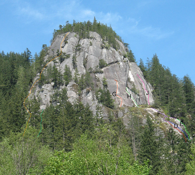Rock Climbing Photo: Photo taken from the highway at some of the main r...