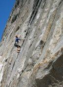 Rock Climbing Photo: Kris Solem leading P1, Esto Power. Photo by Guy Ke...