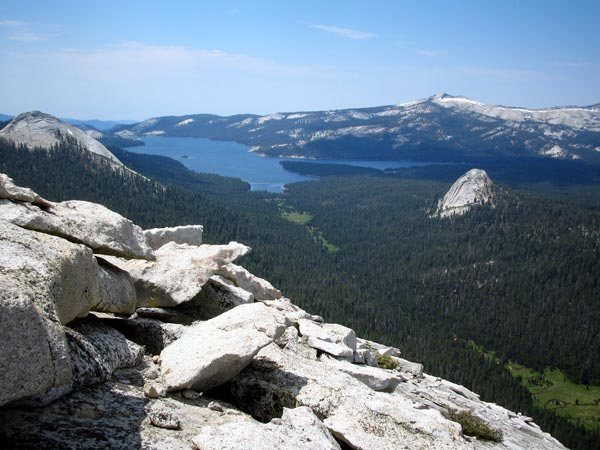 This is the view looking south from the summit of Locke Rock, towards Courtright Reservoir. Leopold Dome is seen. Photo by Kris Solem.
